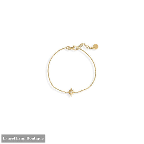 6.5+1 14 Karat Gold Plated CZ Star Bracelet - 34368-7 - Liliana Skye