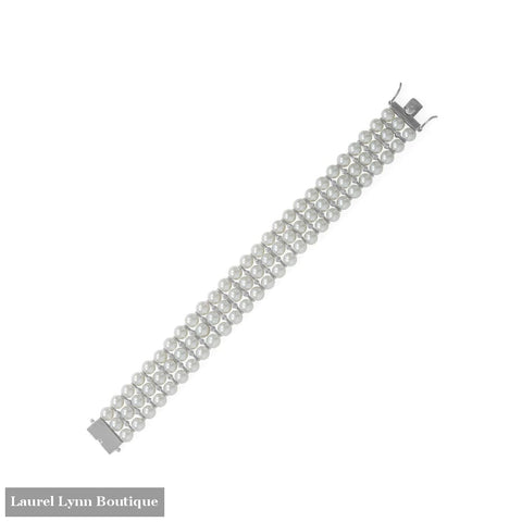 8 Rhodium Plated 3 Row Simulated Pearl and CZ Bracelet - 23597 - Liliana Skye