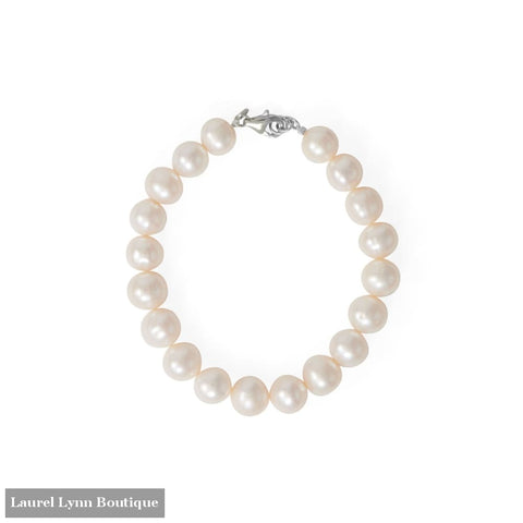 8 Rhodium Plated Cultured Freshwater Pearl Bracelet - 23596 - Liliana Skye