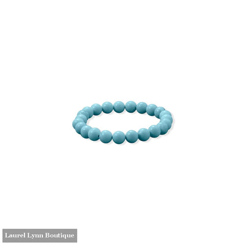 8mm Round Sky Blue Magnesite Stretch Bracelet - 23618 - Liliana Skye