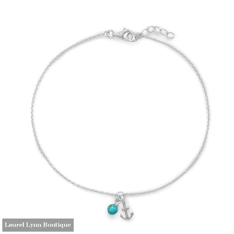 9.25+.75 Anchor and Turquoise Anklet - 92138 - Liliana Skye