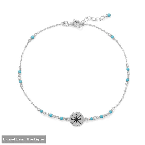 9.25+.75 Blue Beaded Anklet with Compass Charm - 92140 - Liliana Skye