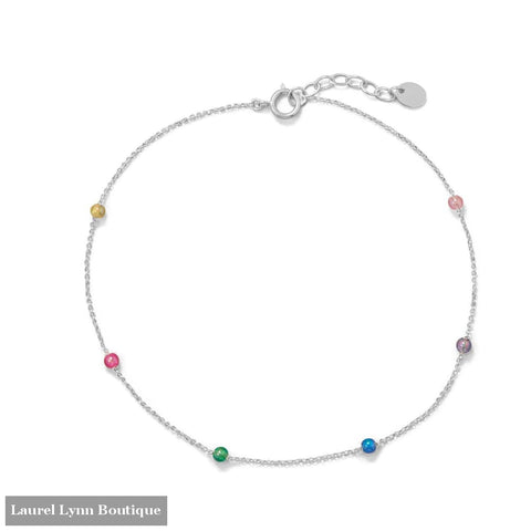 9.25+1 Muli Color Beaded Anklet - 92144 - Liliana Skye