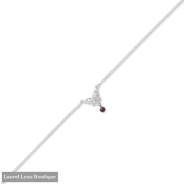 9.5+.5 Butterfly Anklet with Purple Crystal Charm - 92142 - Liliana Skye