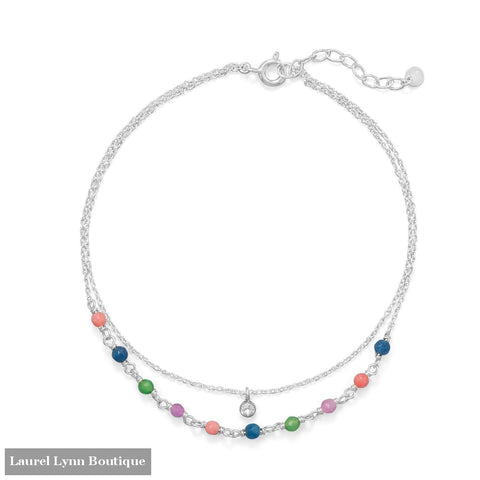9+1 Multi Color Jade and CZ Double Strand Anklet - 92141 - Liliana Skye