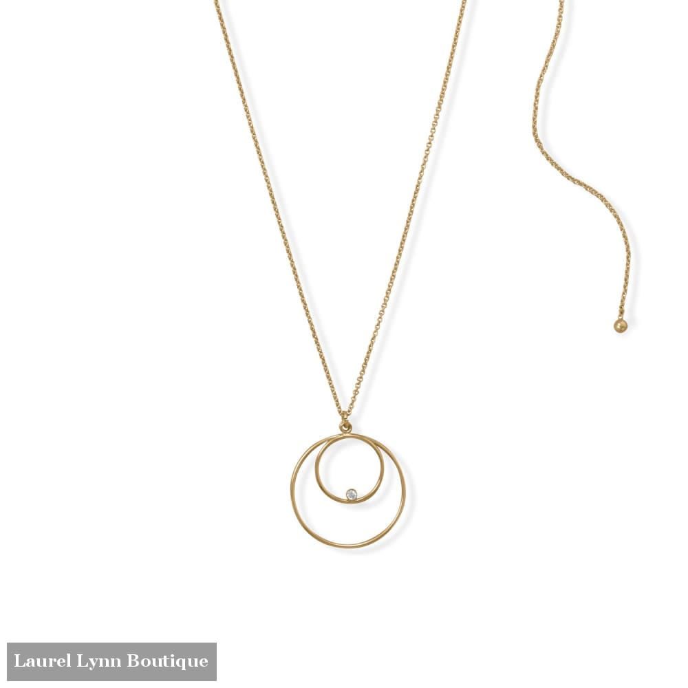 Adjustable 22 14/20 Gold Filled Double Circle with CZ Necklace - 34386 - Liliana Skye