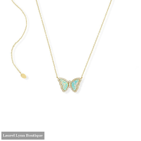 Adjustable Synthetic Opal Butterfly and CZ Necklace - 34351 - Liliana Skye