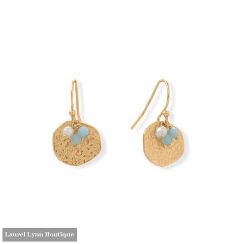 Alluring Aquamarine! 14 Karat Gold Plated Aquamarine and Pearl Disk Earring - 66588 - Liliana Skye