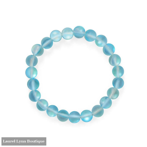 Beach Vibes! Light Blue Glass Stretch Bracelet - W2845 - Liliana Skye