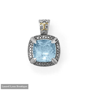 Beautifully Blue! 14 Karat Gold and Rhodium Plated Silver Blue Topaz Pendant - LE1287 - Liliana Skye