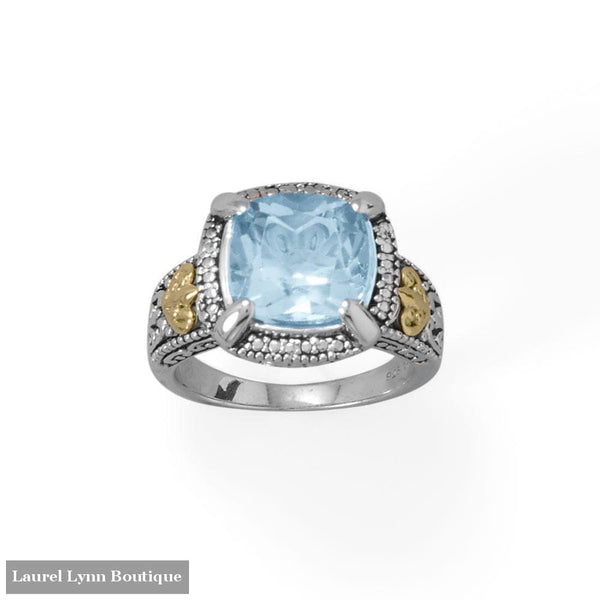 Beautifully Blue! 14 Karat Gold and Rhodium Plated Silver Blue Topaz Ring - LE1288-9 - Liliana Skye