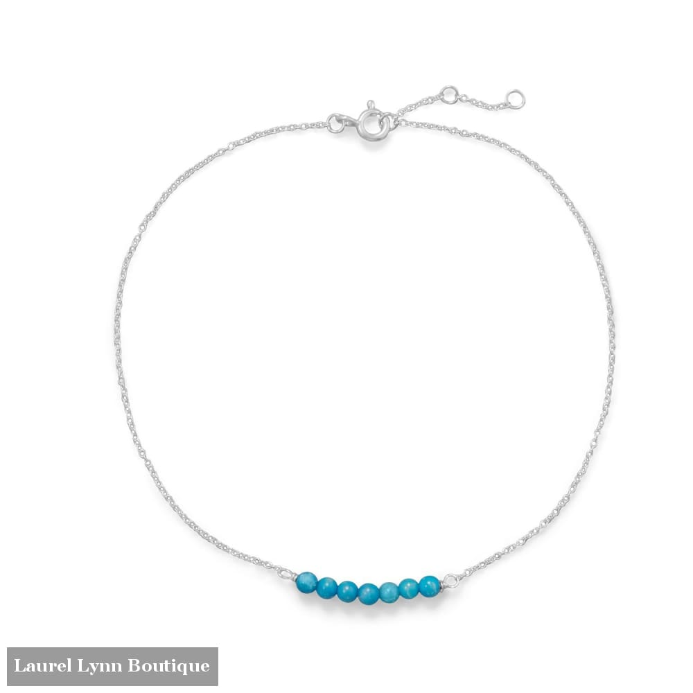 Blue Howlite Bead Bar Anklet - 92122 - Liliana Skye