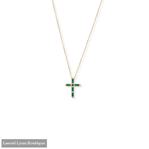 Bodacious Baguettes! 16 + 2 Green and Black CZ Cross Necklace - 34361 - Liliana Skye