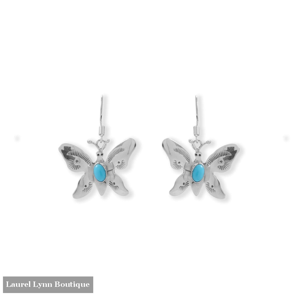 Bold and Beautiful! Navajo Turquoise Butterfly Earrings - 66705 - Liliana Skye