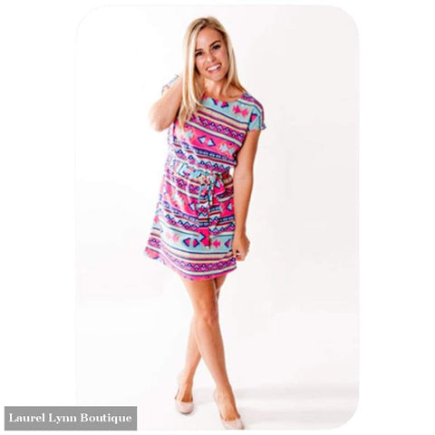 Channing Boat Neck Dress - Aztec Print - All For Color - Blairs Jewelry & Gifts