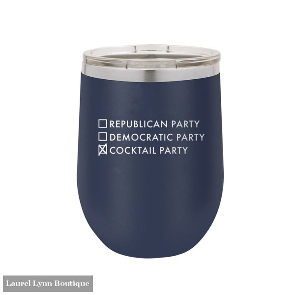 Cocktail Party Wine Tumbler - TWB12-PARTY-NAVY - Viv & Lou
