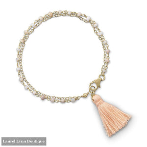 Double Strand Bracelet With Pink Opal And A Tassel - Laurel Lynn Collection - Blairs Jewelry & Gifts