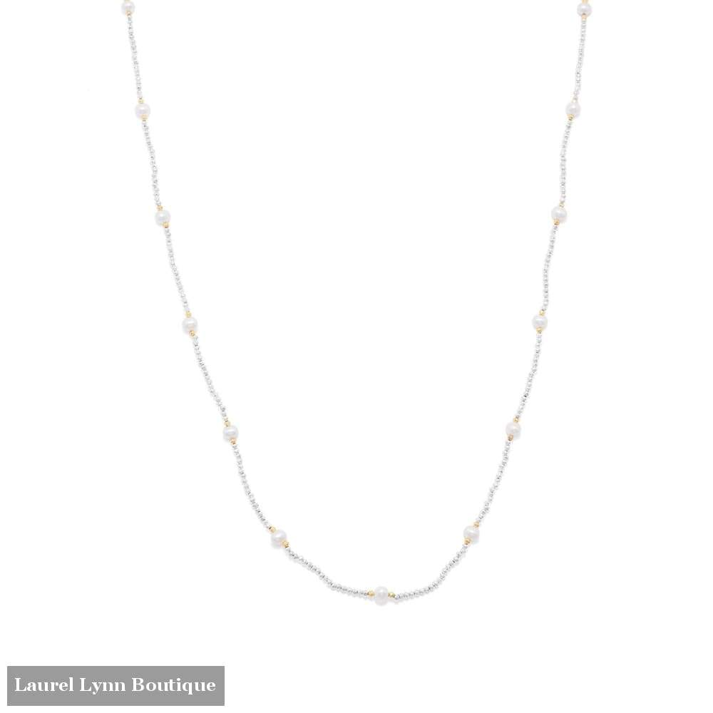 Endless Design Pyrite And Cultured Freshwater Pearl Necklace - Liliana Skye - Blairs Jewelry & Gifts