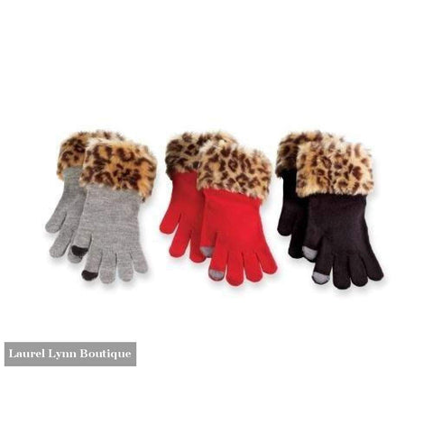 Faux Fur Trimmed Texting Gloves - Blairs Jewelry & Gifts - Blairs Jewelry & Gifts