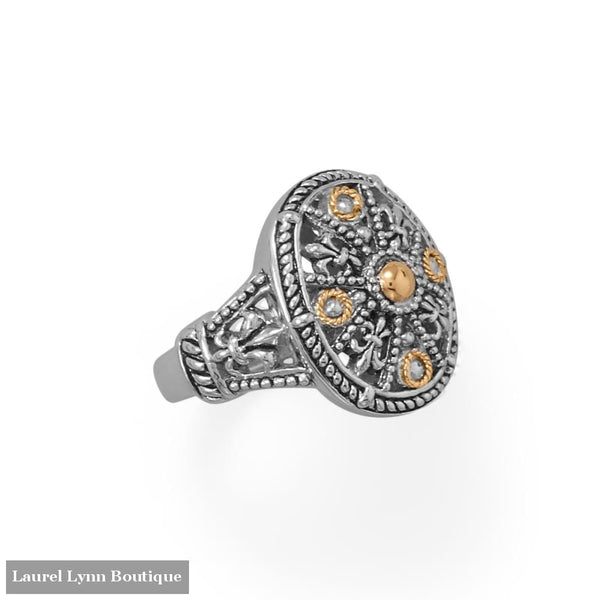 Fleur De Lis Fever! Ornate 14 Karat Gold Plated and Sterling Silver Ring - LE1286-9 - Liliana Skye