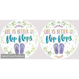 Flip Flops Car Coaster Set #4043 - Clementine Design - Blairs Jewelry & Gifts