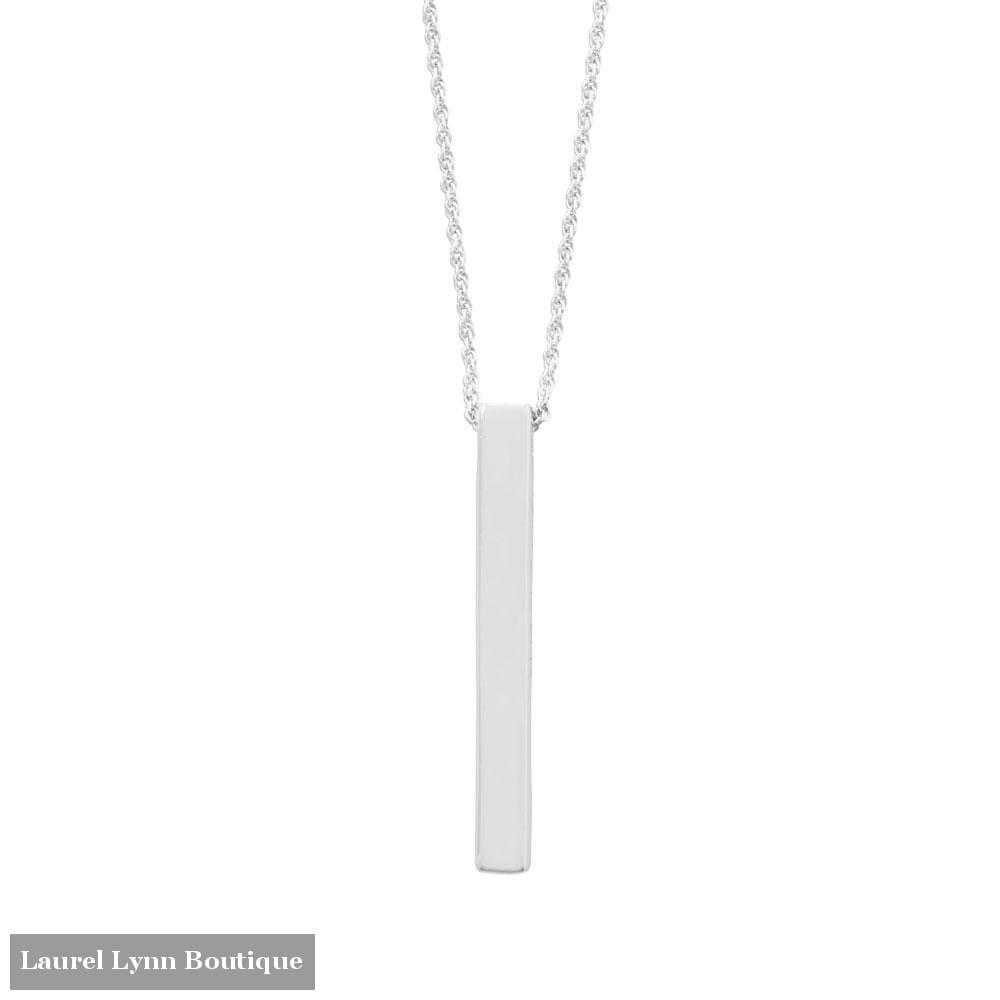 Four Sided Sterling Silver Vertical Bar Drop Necklace - LE1281 - Liliana Skye