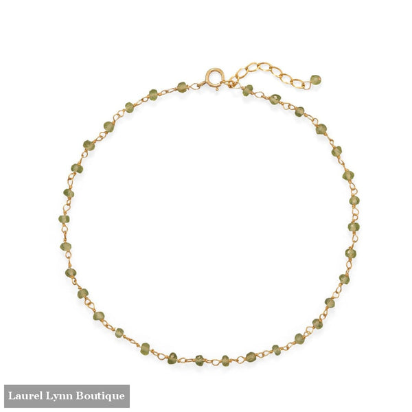 Fresh Look! Peridot 14 Karat Gold Plated Anklet - 92114 - Liliana Skye