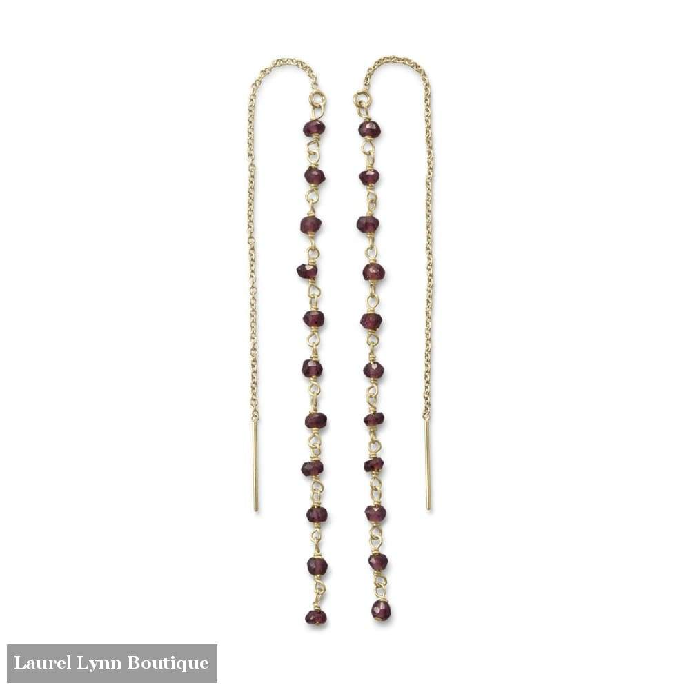 Garnet Bead Threader Earrings - Liliana Skye - Blairs Jewelry & Gifts
