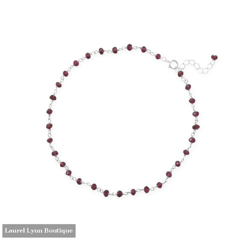 Glam and Gleaming Garnet! 9.5+1 Sterling Silver Beaded Anklet - 92163 - Liliana Skye
