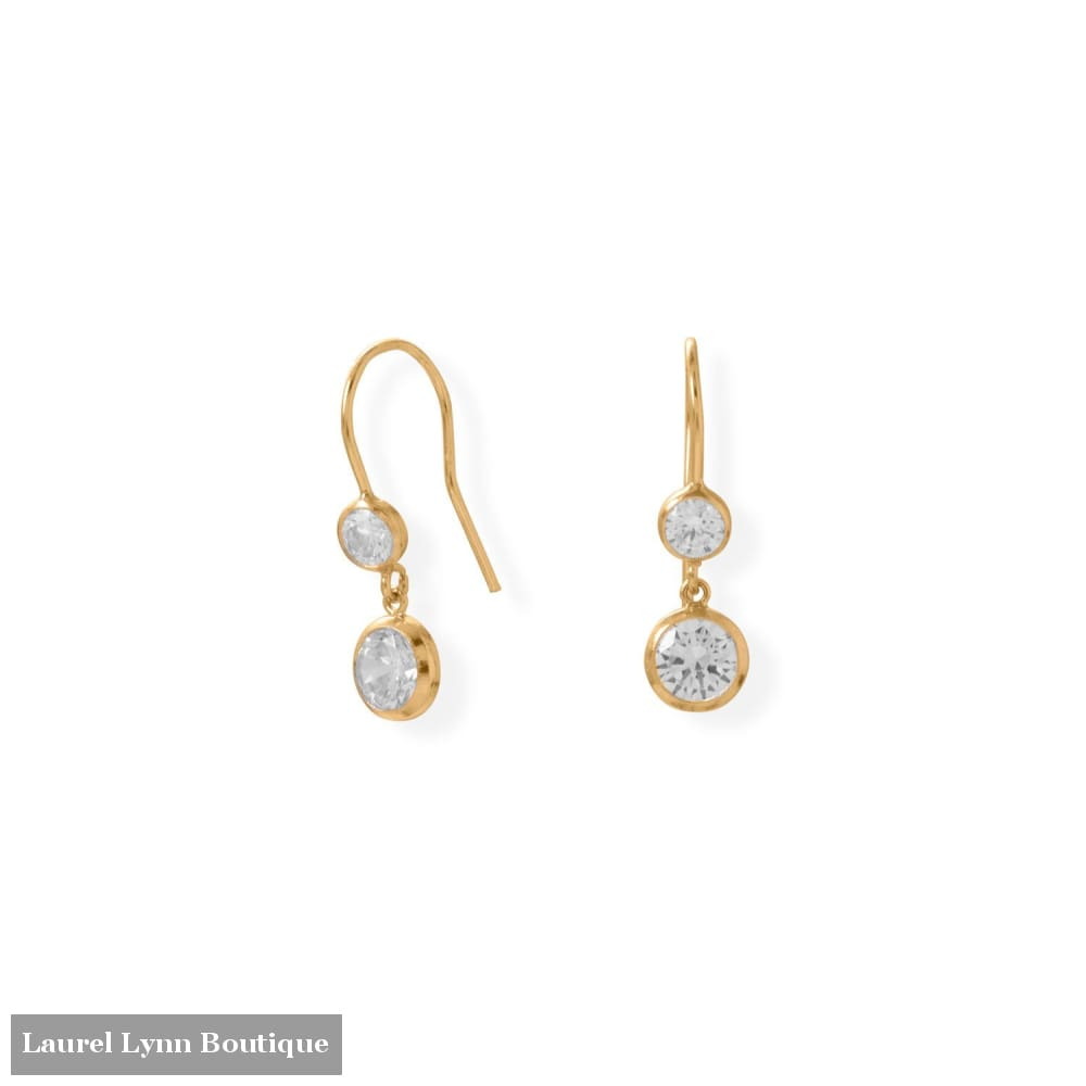 Gold-Filled CZ Drop French Wire Earrings - 66515 - Liliana Skye