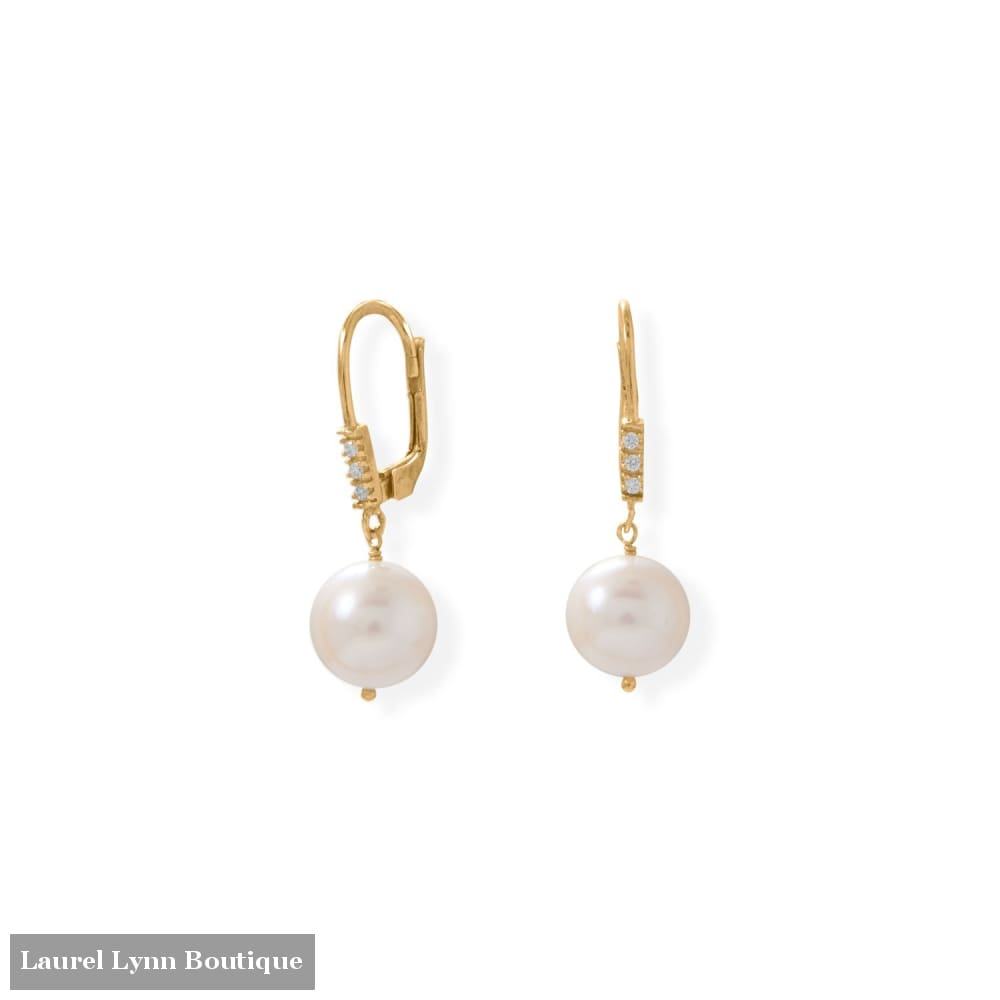 Gold Plated Cultured Freshwater Pearl and CZ Lever Earring - 66506 - Liliana Skye