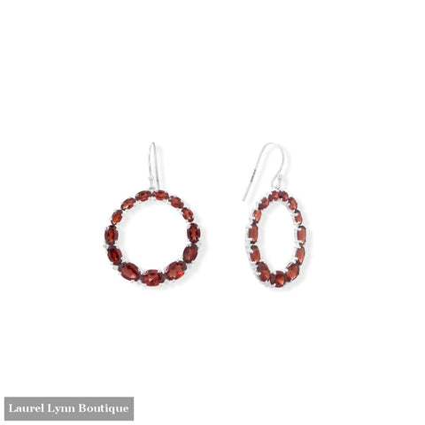 Graduated Garnet Open Circle Earrings - 66551 - Liliana Skye