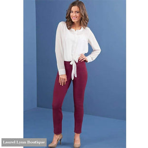 Hunter Ponte Knit Pant - Burgundy - Mud-Pie - Blairs Jewelry & Gifts