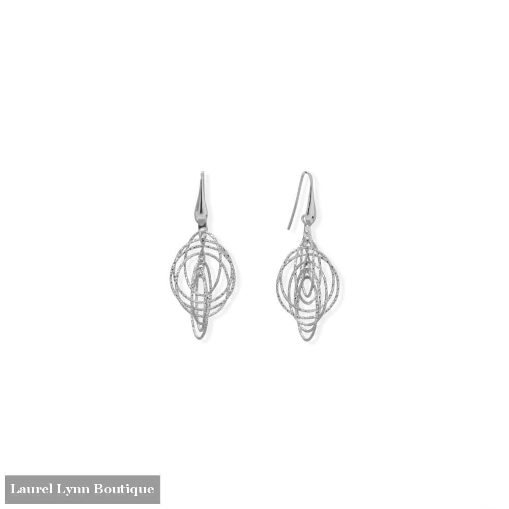 Italian Rhodium Plated 3-D Drop Earrings - 66555 - Liliana Skye