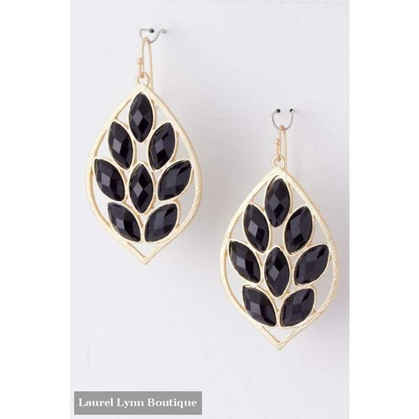 Jeweled Leaf Earrings - Blairs Jewelry & Gifts - Blairs Jewelry & Gifts