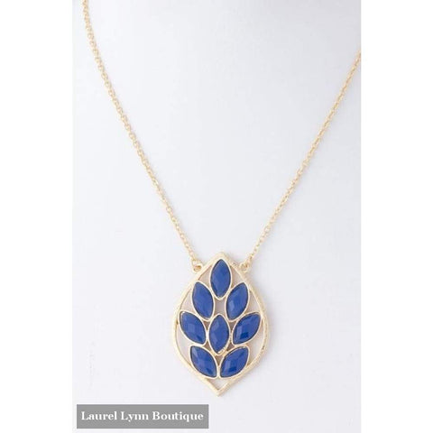 Jeweled Leaf Necklace - Blue - 4Ee6 - Blairs Jewelry & Gifts - Blairs Jewelry & Gifts