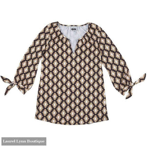 Kingsley Tunic - Black/tan Geo Dot - Mud-Pie - Blairs Jewelry & Gifts