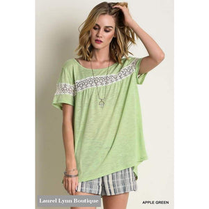 Lace Trimmed Tee - Lemon Tree - Blairs Jewelry & Gifts