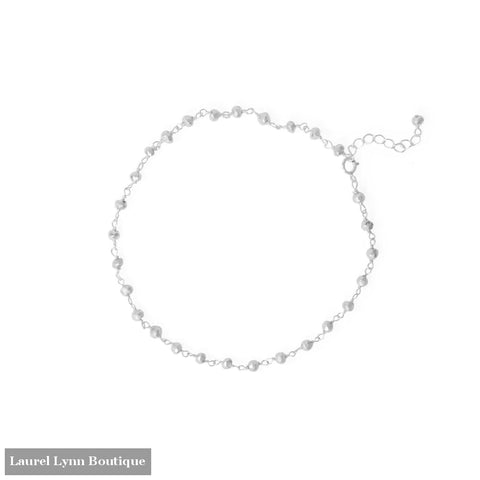 Midnight Magic! 9.5+1 Sterling Silver Beaded Anklet - 92165 - Liliana Skye