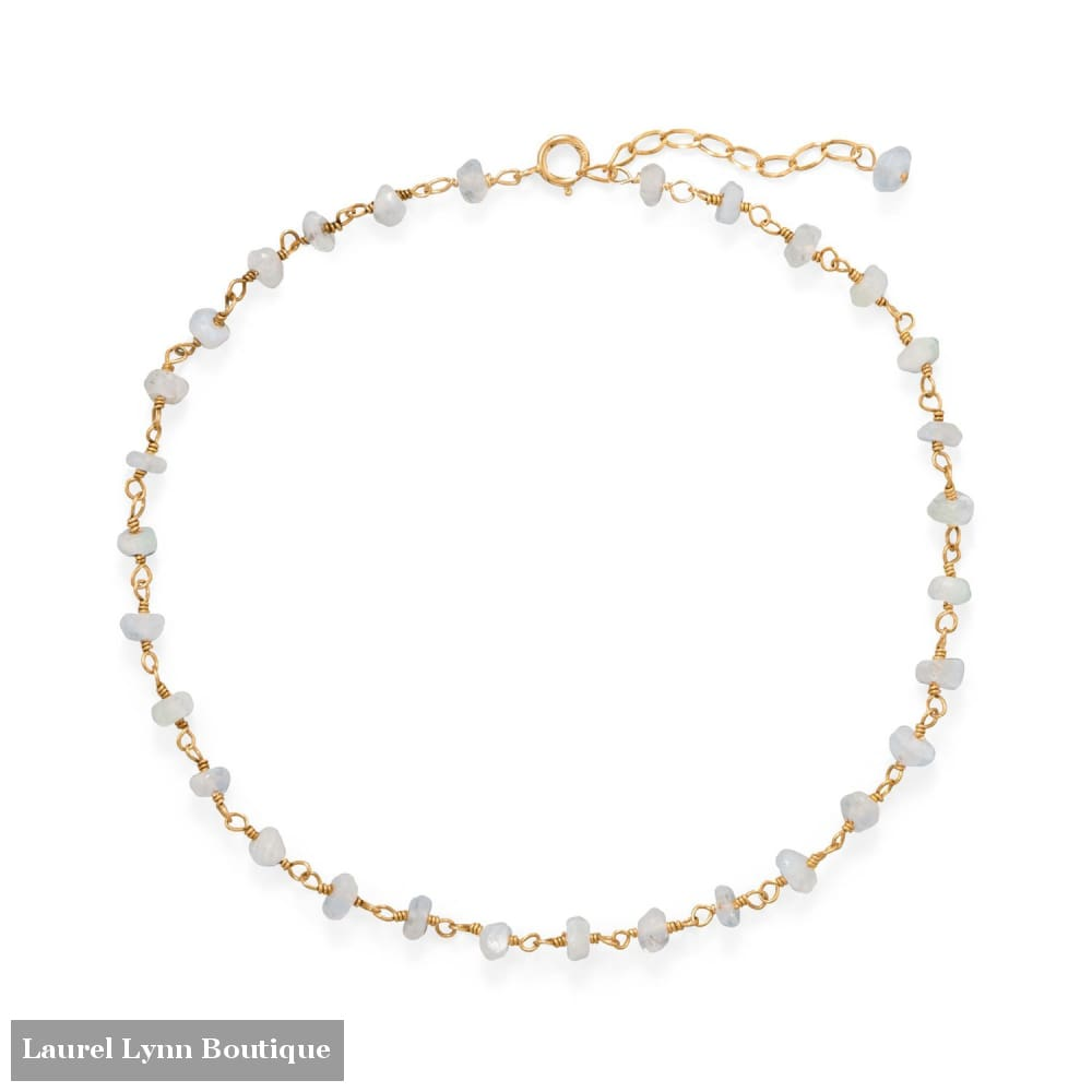 Moonlight Glow! 14 Karat Gold Plated Rainbow Moonstone Anklet - 92116 - Liliana Skye