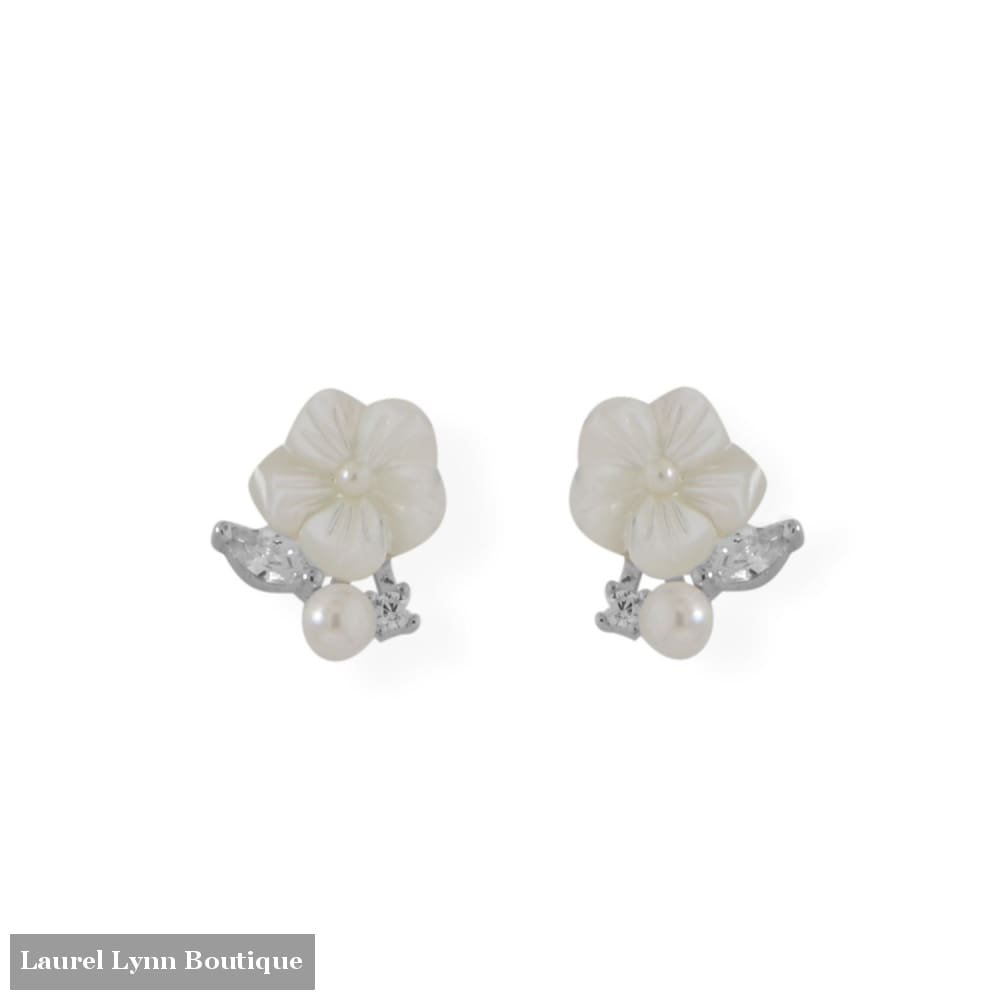Mother of Pearl and CZ Flower Earrings - 66529 - Liliana Skye