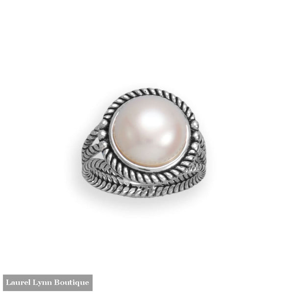 Oxidized Rope Edge and Cultured Freshwater Pearl Ring - 83886-9 - Liliana Skye