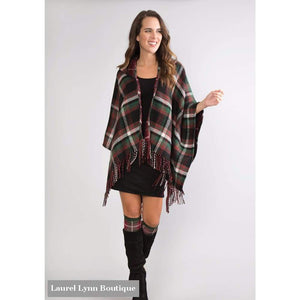 Plaid To Meet You Hooded Wrap - Select A Color - Simply Noelle - Blairs Jewelry & Gifts
