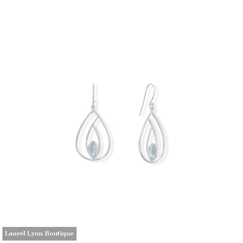 Polished Blue Topaz French Wire Pear Earrings - 66552 - Liliana Skye