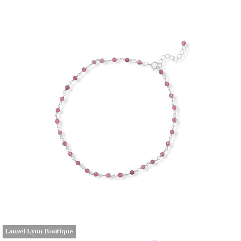 Pop of Pink! 9.5+1 Tourmaline Bead Anklet - 92174 - Liliana Skye