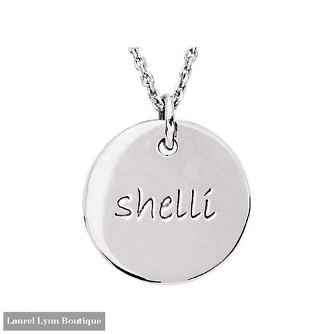 Posh Mommy Medium Disc Pendant - Sterling Silver / January / Bradley Hand - 0C9F - Stuller - Blairs Jewelry & Gifts