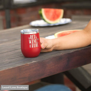 Red Wine & Blue Wine Tumbler - TWB12-REDWINE-RED - Viv & Lou