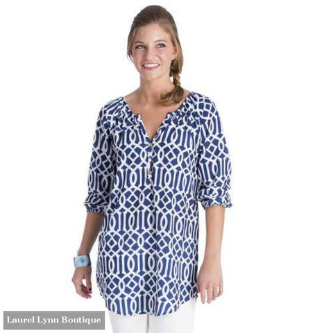 Reese Tunic - Blue Lattice - Mud-Pie - Blairs Jewelry & Gifts