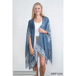 Reverisble Floral Bordeaux Cardi Wrap - Select A Color - Simply Noelle - Blairs Jewelry & Gifts