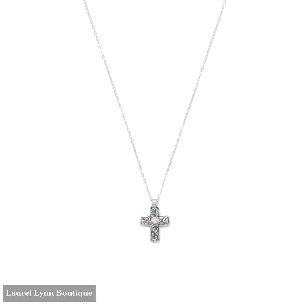 Reversible Cross Charm With Cultured Freshwater Pearl Necklace - Liliana Skye - Blairs Jewelry & Gifts